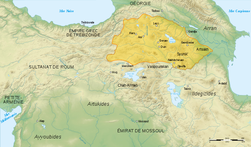 Освобожденная Закарянами Восточная Армения. Начало XIII века.